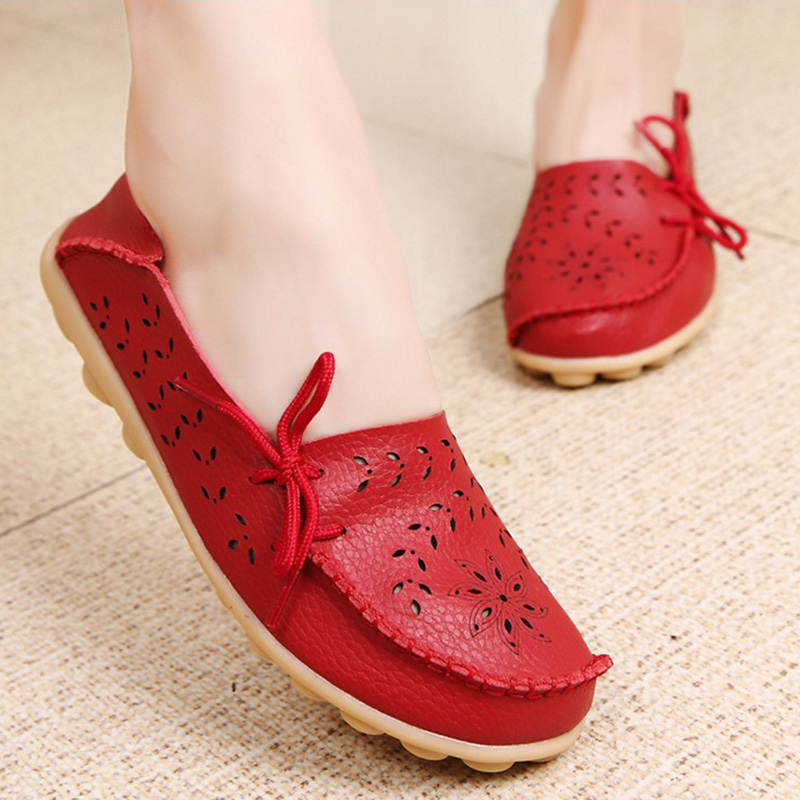 Women Flats 2018 Moccasins Women Leather Shoes Mother Loafers Casual Female shoes woman Driving Ballet Footwear slip on(China)