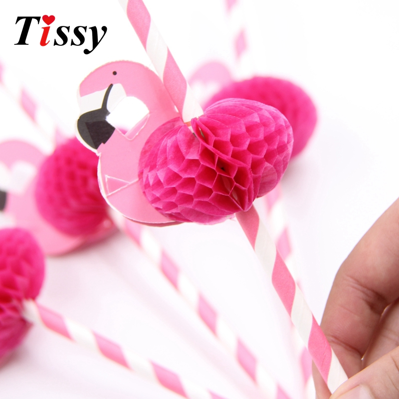 12PCS/Lot Flamingo Straw 3D Flamingo Paper Straws Kids Birthday/Wedding/Pool Party Decoration Supplies Drinking Straws