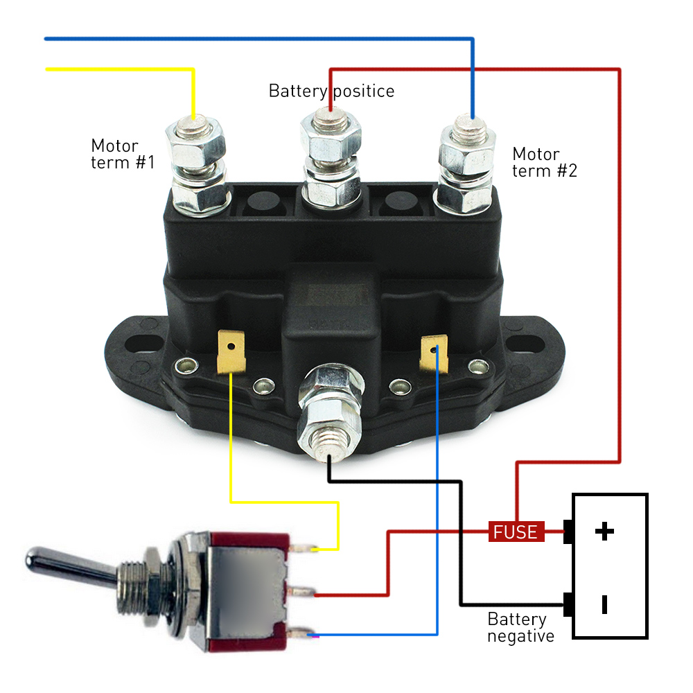 Lowered Relay Winch Motor Reversing Solenoid Switch 12 Volt 24 To