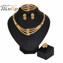 MUKUN New Nigerian Wedding woman accessories jewelry set Wholesale Big statement Brand Dubai Gold Color Jewelry Set