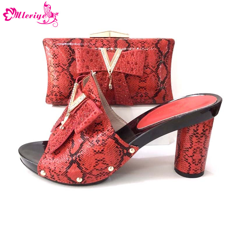 African Ladies Matching Shoe and Bag 7 Colors Material with PU Italian Shoes and Bags Set for Party Women Shoe and Bag To Match