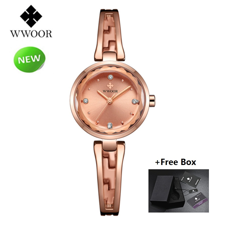 WWOOR New Gold Watch Women Quartz Dress Watches Ladies Wristwatch Waterproof Small Clock Female Bracelet Wrist Watch reloj mujer