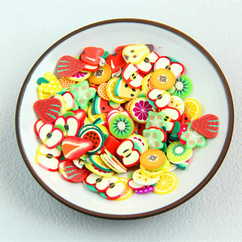 100 Pcs Bigger Size 10mm Fruit Slime Beads Charms for Polymer Clay Phone Case DIY Decoration