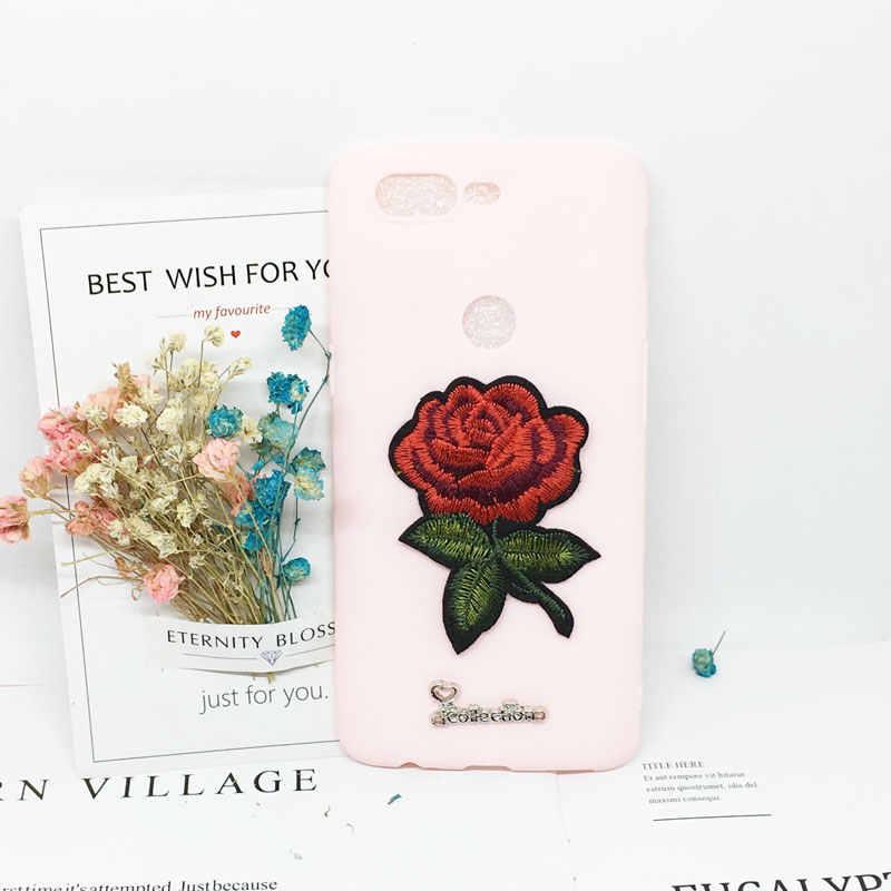 3D Bordado Flor Rosa Soft Case Bonito para Samsung Galaxy S6 S7edge S8 S9 Note9/8 A3 A5 A7 2017 J3 J5 J7 A6 A8 Plus 2018 Tampa