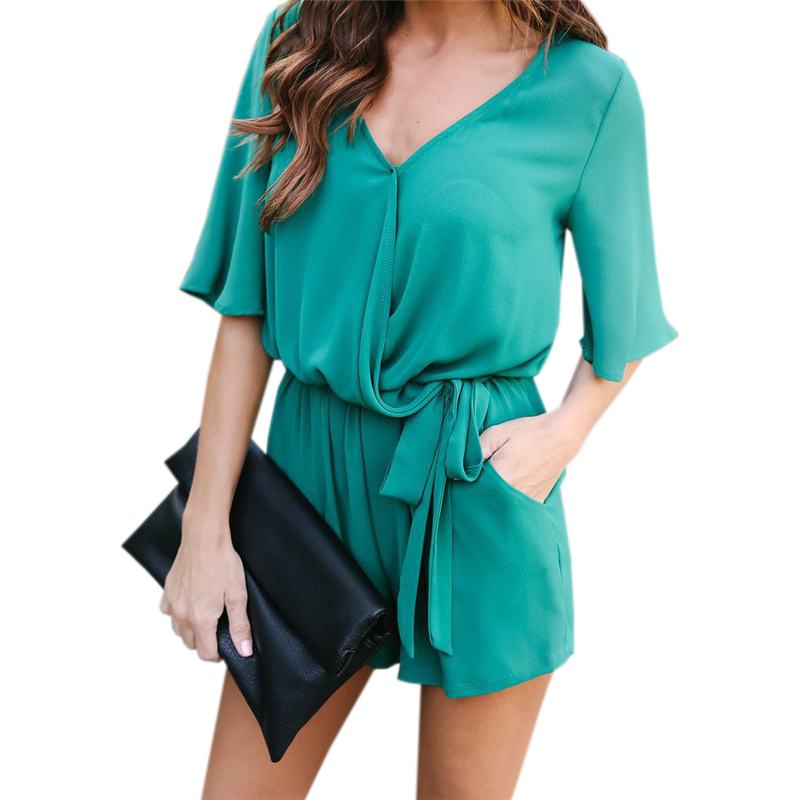 Sexy Women Playsuit V-Neck Casual Romper Ruffles Thin Summer Chiffon Jumpsuits Beach Overalls Shorts Sashes Boot Cut GV416
