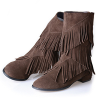 New Arrival High Quality Leather Women Ankle Boots Chunky Heels Fringe Boots Fashion Comfortable Tassel Decorated Zipper Shoes