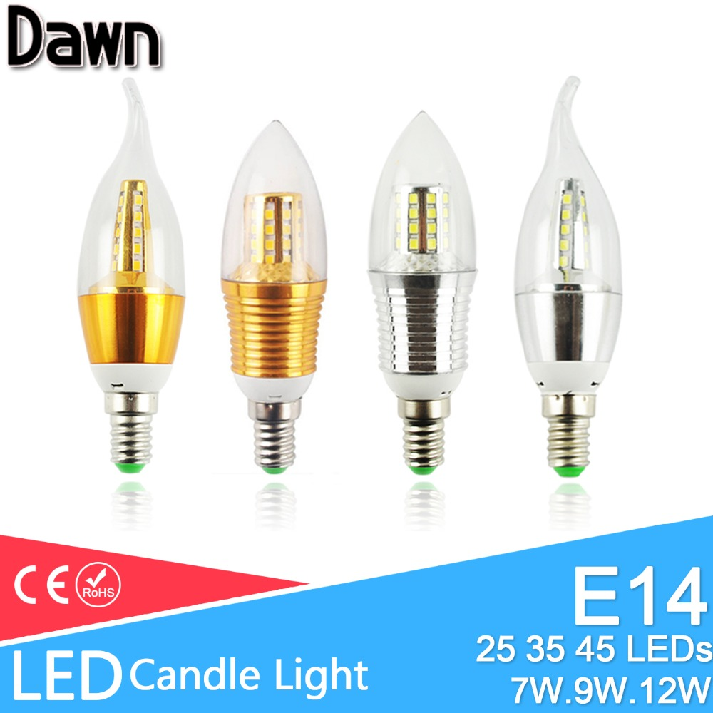 Led Bulb E14 3W 6W Led Lamp AC 220V 240V LED Candle Bulb 9W 12W Aluminum Cool Warm White Lampada Bombillas Lumiere Led Light