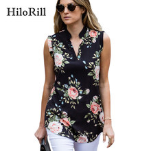 075403014 HiloRill Floral Blusa Chiffon Mulheres Sexy Sem Mangas Verão Camisas Casual  Solto Tops Túnica Blusas Senhora