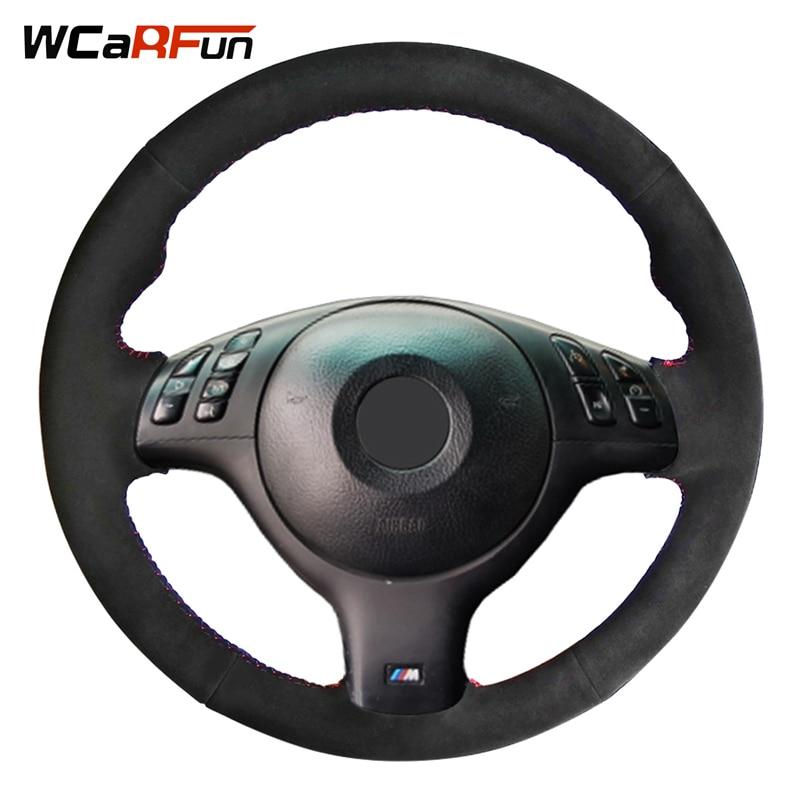 WCaRFun черная замша рулевого колеса автомобиля крышки для BMW E46 M3 E39 330i 540i 525i 530i 330Ci 2001 2002 2003