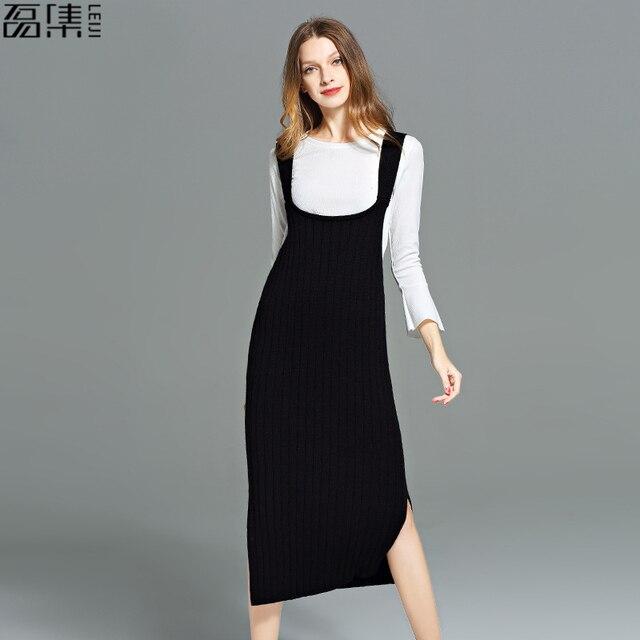 6b14c8360f72 2017 gilet Pull Robe Longue style de Femmes plus la taille Noir Pull Pull  Casual Chandail