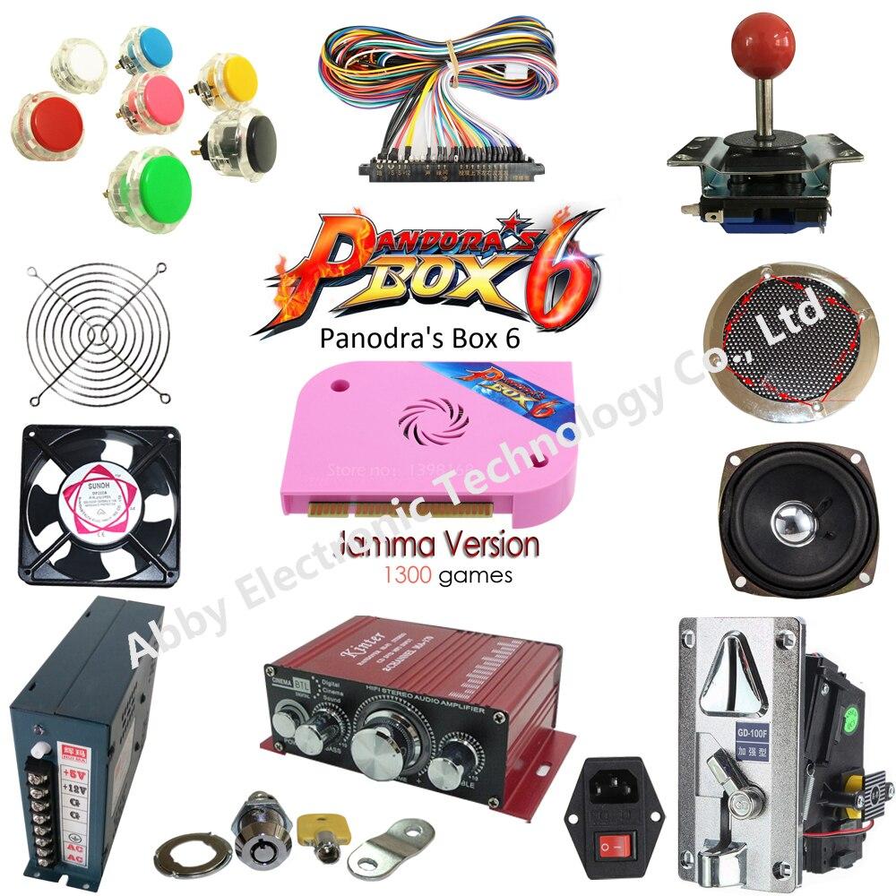Kit de pièces d'arcade Pandora 1300 en 1 Joystick boutons Jamma harnais peaker avec alimentation Controle Arcade armoire