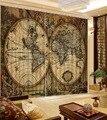 Занавески  высококачественные затемненные занавески для спальни  ретро шторы с картой мира  занавески на окно