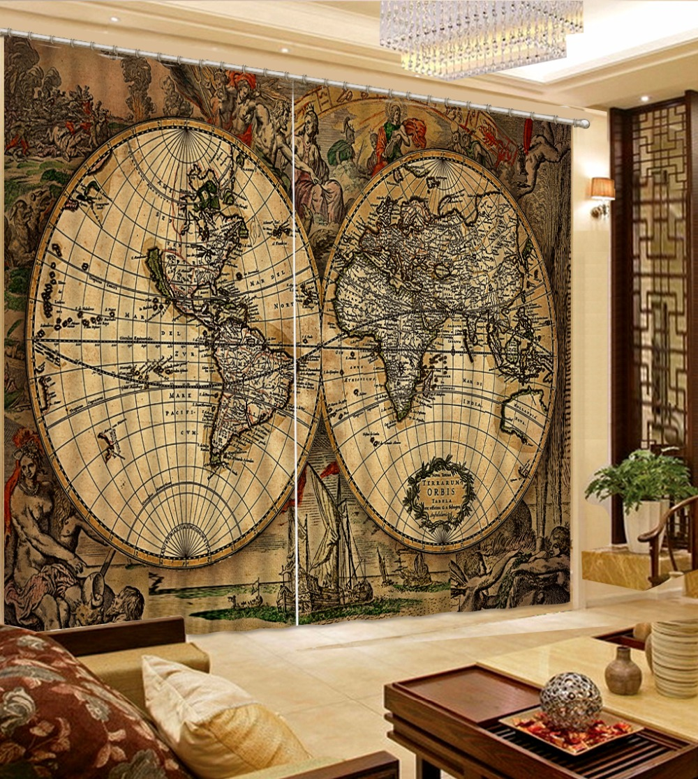 Curtain Decoration High quality Blackout Curtains For The Bedroom retro world map Curtains Drapes For Window