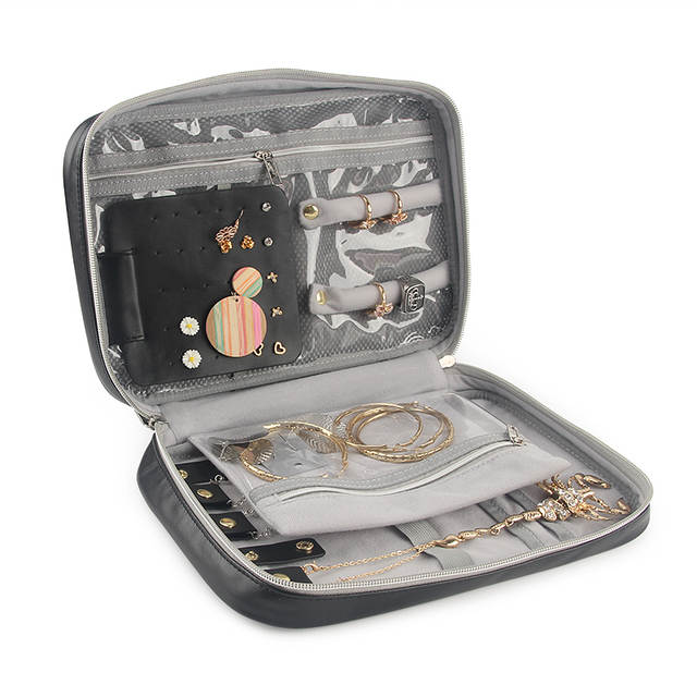 fb0832687c9d Travel Jewelry Organizer Bag Women Necklace Rings Earrings Bracelet Display  Pouch High Capacity PU Traveling Jewelry Case