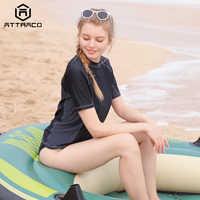 Attractif Rashguard maillots de bain à manches courtes femmes Colorblock maillot de bain surf haut de jogging chemises de vélo garde éruption UPF 50 +