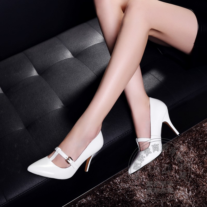 Pointed Toe Simple Clasp Flock font b Women b font Autumn Genuine Leather Shoes Pigskin Prom