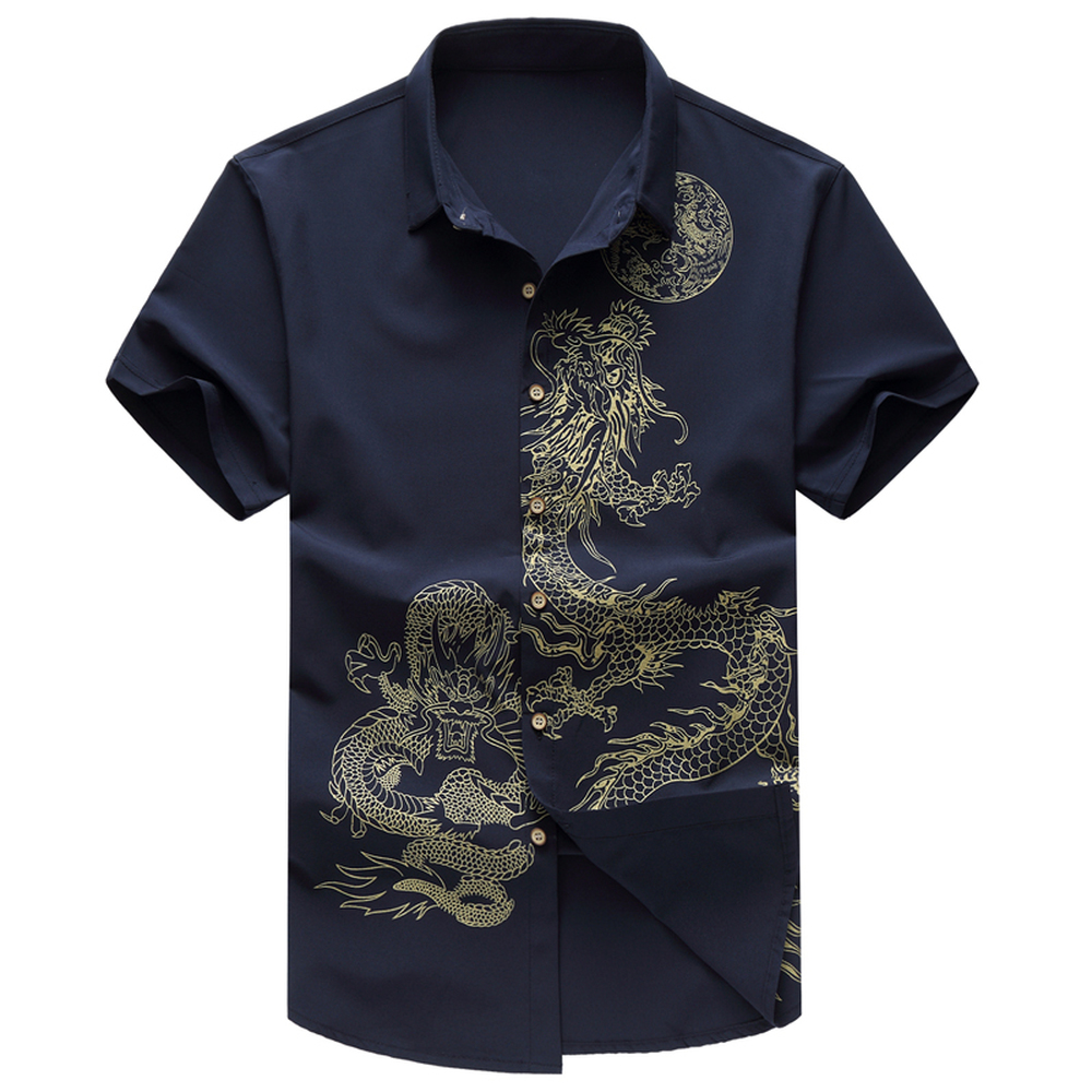 Summer New Men's Shirt Male Fashion Leisure Pattern Printing Short Sleeve Shirt Chinese Wind Male Clothing Plus Size 6XL 7XL