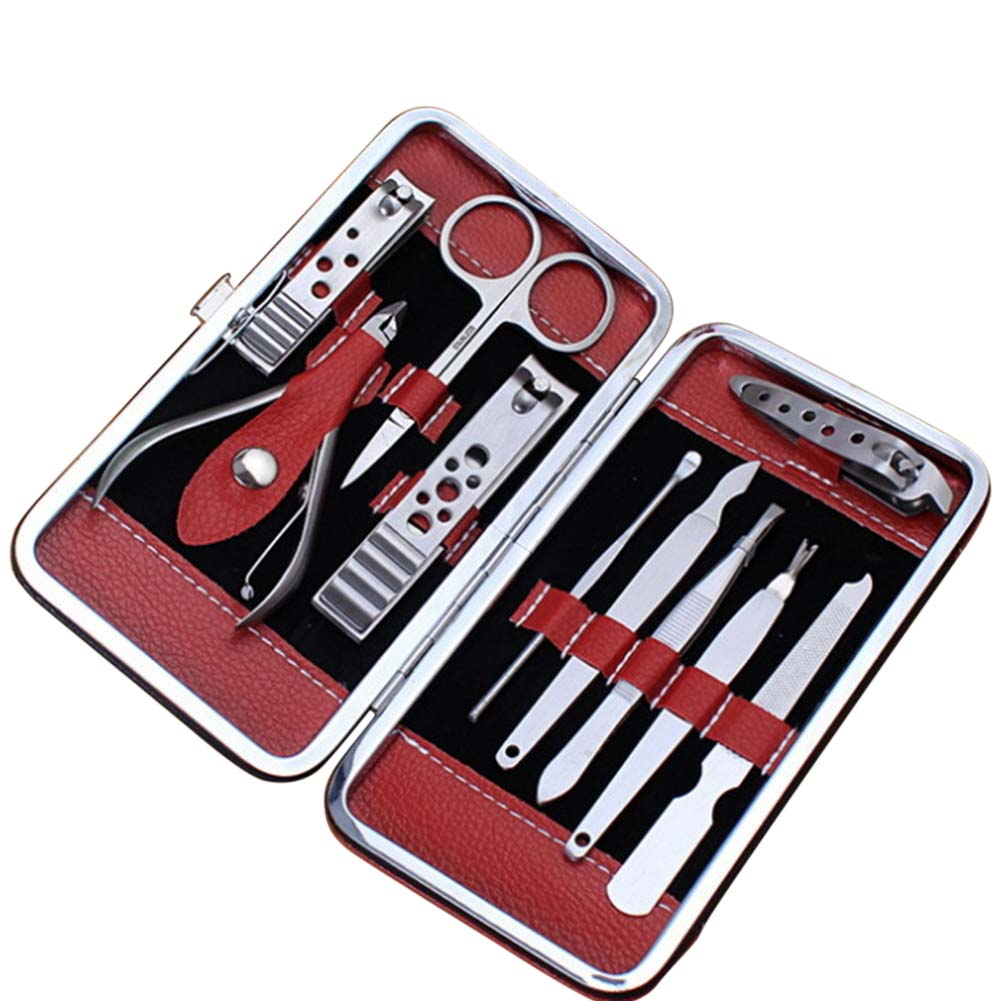 10 Pcs Pedicure Manicure Set Nail Clippers Cleaner Cuticle Grooming Kit with Case For Women Men Nail Care Tool FM88 12 pcs mini pedicure manicure set nail cuticle clippers cleaner grooming case tool beauty care set stainless steel tool