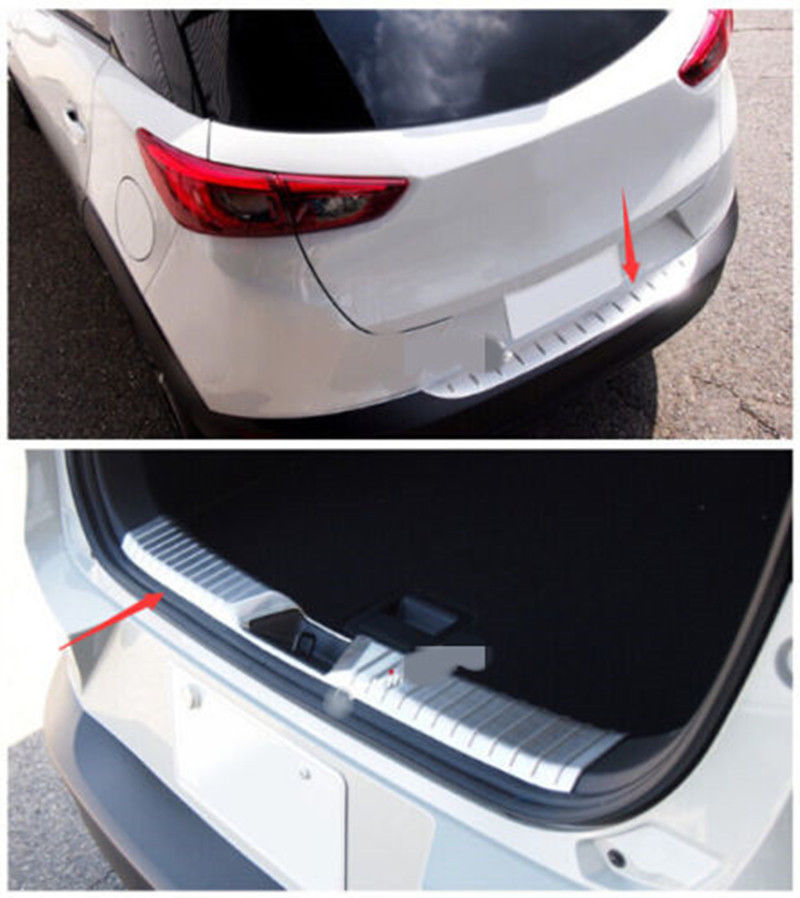Steel Rear Bumper Protector Guard Scuff Plate Sill Cover for Mazda CX-3 2015-2018 1 stainless steel rear trunk sill rear bumper protector plate cover trim for mazda cx 5 cx5 2nd gen 2017 2018 accessories