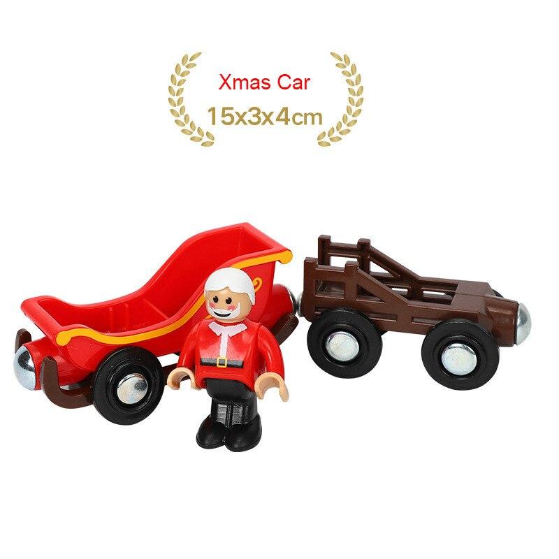 EDWONE деревянный магнитный Поезд Самолет деревянная железная дорога вертолет автомобиль грузовик аксессуары игрушка для детей подходит Дерево Biro треки подарки - Цвет: NO 24Xmas Car