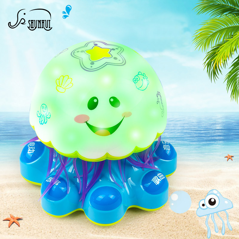 Dreamy Electric Jellyfish Baby Electronic Pets Toys with Universal Wheel Kids Color Lights Musical Interactive Toy for Children