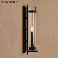American Vintage Industrial Sconce Wall Light LED Iron Glass Bedside Wall Lamp Bathroom Loft Decor Home Lighting Fixtures