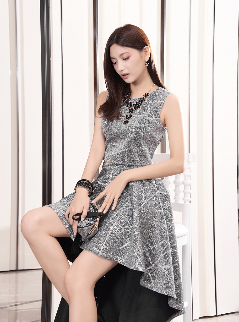 6352165ef1d51 PLAYCOLOR 2 Piece Sleeveless Glitter Cocktail Dress Long 2017 Woman ...