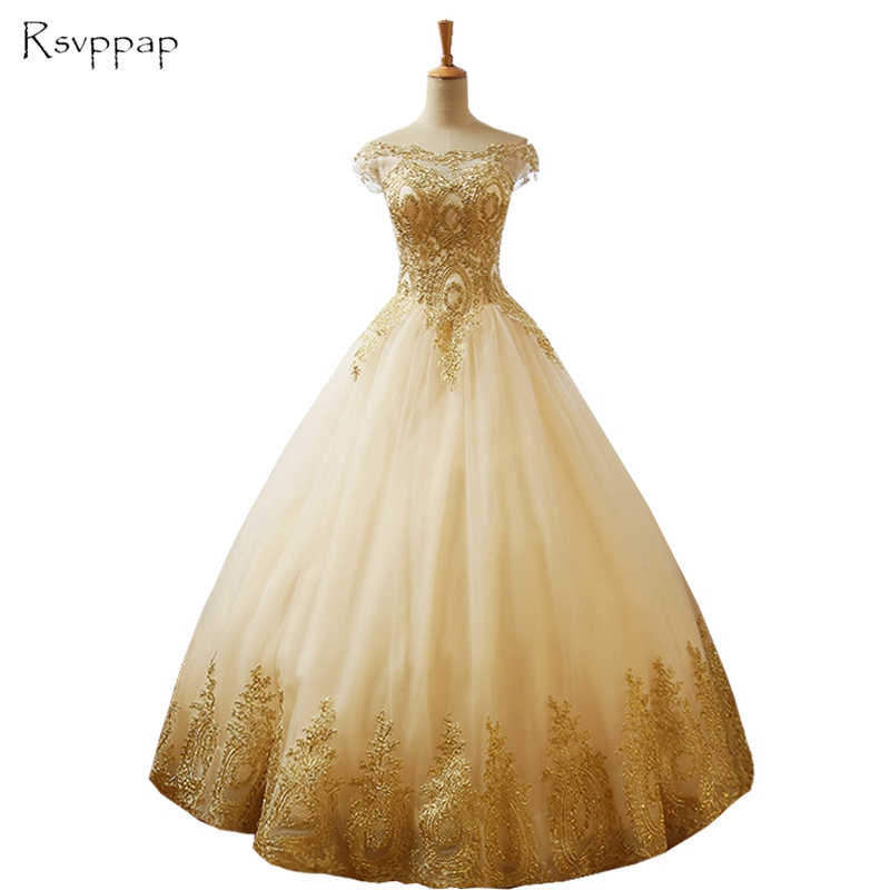 Long Evening Dress 2019 Gorgeous Puffy Ball Gown Cap Sleeve Gold Lace Arabic Style Women Formal Dresses robe de soiree