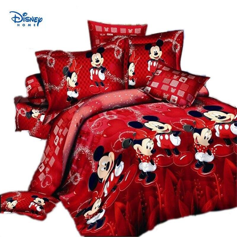 Rouge Minnie Mickey Mouse Couette Ensemble De Literie Lits Complet