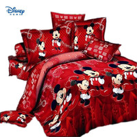 red minnie mickey mouse comforter set bedding twin full queen king size 100%cotton quilt cover flat bed sheet pillowcase 3/4/5pc