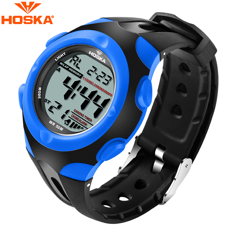 Fashion Brand HOSKA Children Luminous LED Digital Watch Multifunction 50M Waterproof Electronic Wristwatches For Student