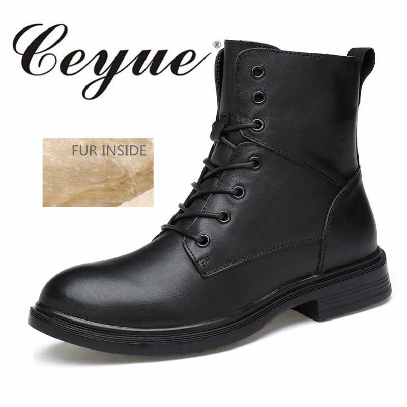 Ceyue New 2017 Winter Men Boots Big Size 50 Waterproof Genuine Leather Black Boots Men Warm Fur Rubber Motorcycle Boots For Male scoyco mbt002 motorcycle bicycle men s leather short boots black size 44