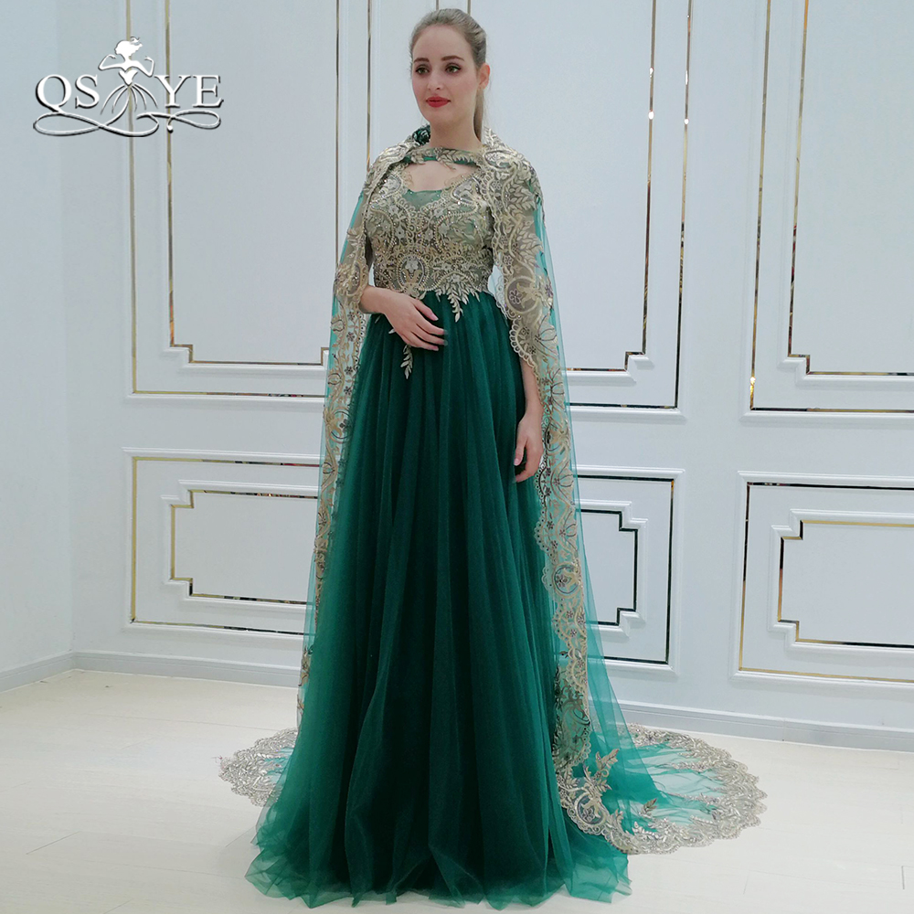 QSYYE 2018 Vintage Saudi Arabia Green Formal   Evening     Dresses   with Cape Lace Beaded Floor Length Tulle Long Prom   Dress   Party Gown