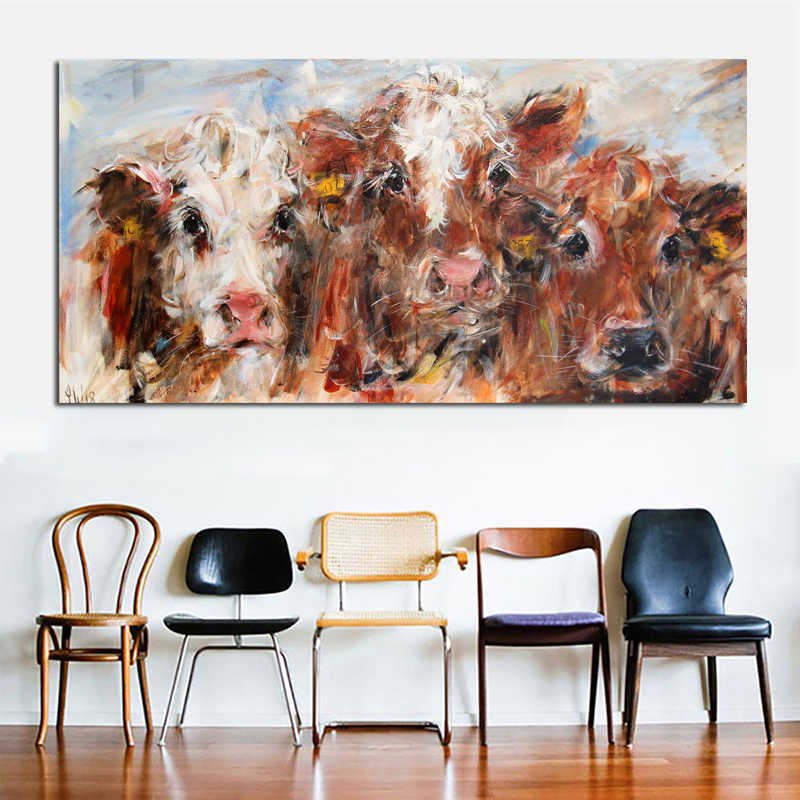 Abstract Art Colorful Cow Wall Art Painting Prints and Posters Modern Decorative Pictures For Living Room Cuadros Decor Unframed