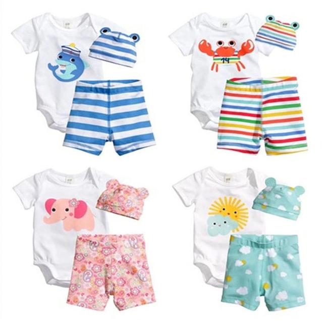 3 Unids Ropa de Bebé Recién Nacido Mamelucos Cortos de la manga + Pantalones + Sombrero Del Bebé Del Mameluco de Algodón de Manga Corta Ropa de Delfines Trajes de impresión