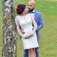 2017 Arabic Short Wedding Dresses Lace Style Vintage Sheath Mini Mother Of Bride Vestidos De Novia