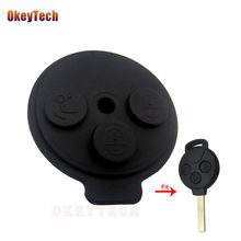 OkeyTech 2Pcs/lot Car Key Shell Case Fob Rubber Button PAD for Benz Smart Key 3 Button for Mercedes Benz Smart Key 1998-2012(China)