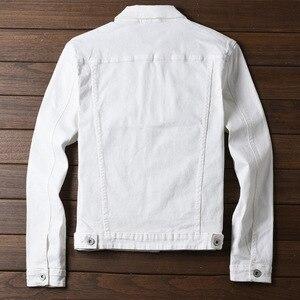 Image 5 - Moda erkek Kot Ceketler Slim Fit Bahar Sonbahar Kot Ceket Pembe Kırmızı Turn Down Yaka Dış Giyim Boyutu M 3XL