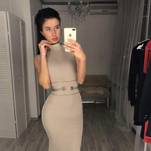 High Quality Celebrity Khaki Sleeveless Gold Line Rayon Bandage Dress Homecoming Party Bodycon Dress high quality white red patchwork sleeveless rayon bandage dress evening party bodycon dress
