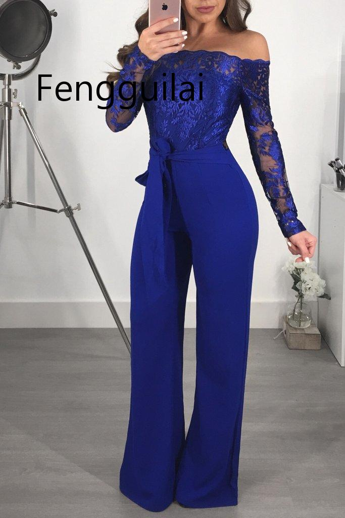 FENGGUILAI Off Shoulder Sexy Lace Jumpsuit Summer Fashion Bandage Wide Leg Jumpsuit Long Sleeve Elegant Bodycon Jumpsuit Female in Jumpsuits from Women 39 s Clothing