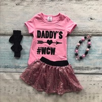 Hồng mũi tên sequins ngắn tay áo bé gái váy daddy của wcw trang phục cotton dress thiết lập mùa hè outfits với phù hợp với phụ kiện