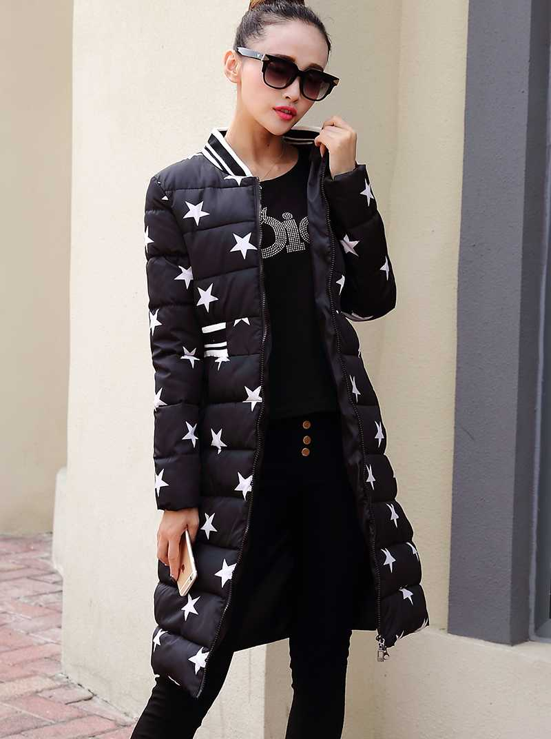 Female Winter Woman Coats And Jackets 2015 Cotton New Design Five Stars Printed Extra Long Down Thickened Coat H5510