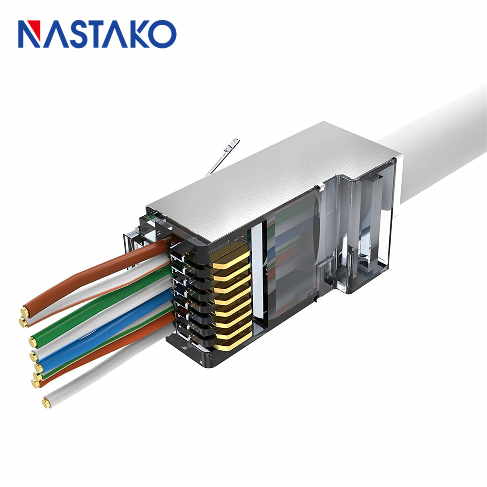 EZ RJ45 Cat6 Connector Cat5e Cat 6 Network Connectors 8P8C Shielded Modular Plug rj45 Jack Terminals have hole easy pass