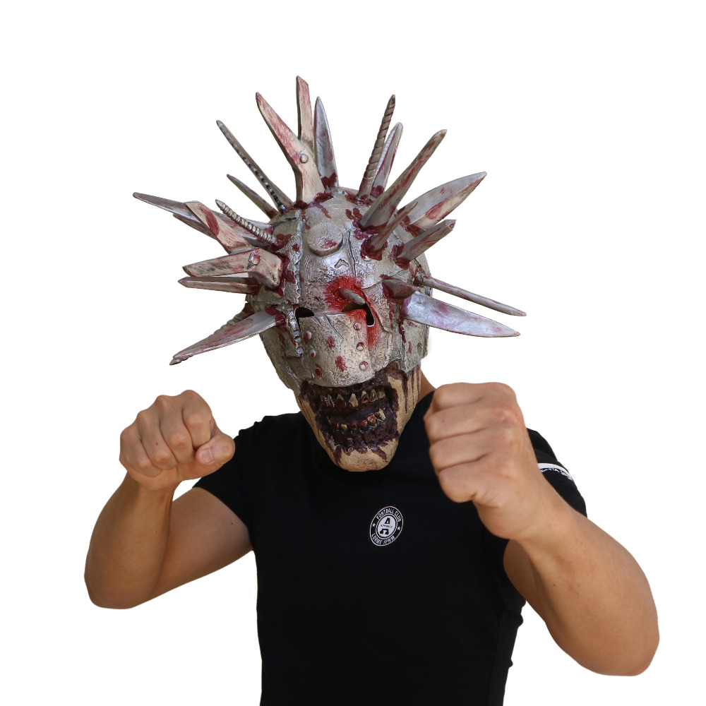 US $17 99 The Walking Dead Mask Knives Zombie Mask Halloween Party with Simulation Weapons on Head Latex Helmet Boys Costume Accessories