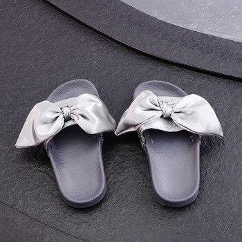 ¡OFERTA 2019! zapatos para niñas, zapatillas Rihanna con lazo de seda grande, zapatillas para niños, Chaussures Rihanna, zapatos deslizantes para niñas, tamaño 21-37