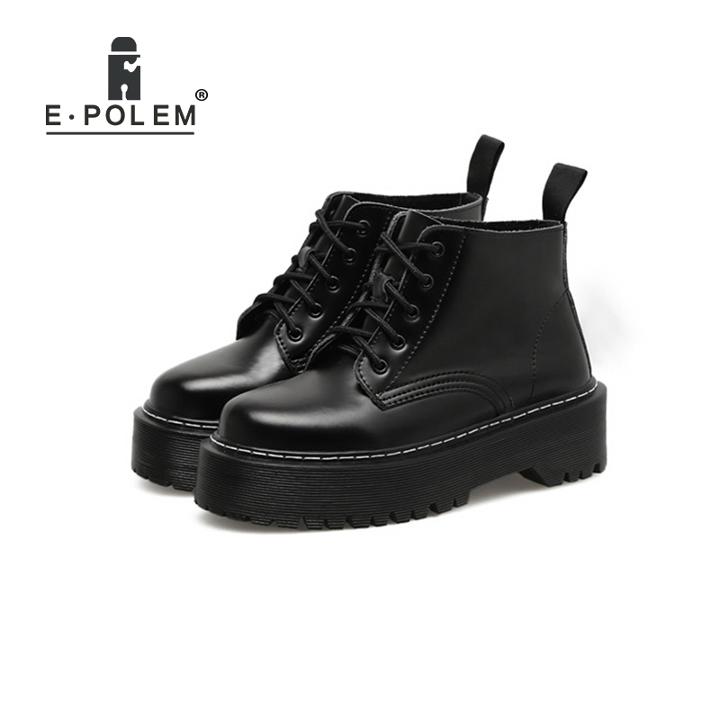 2018 New British Punk Retro Short Upper Thick Sole Martin Boots Female European American Round Toe Leather Boots Flat Shoes martin new winter with thick british style short canister female fall side zipper boots