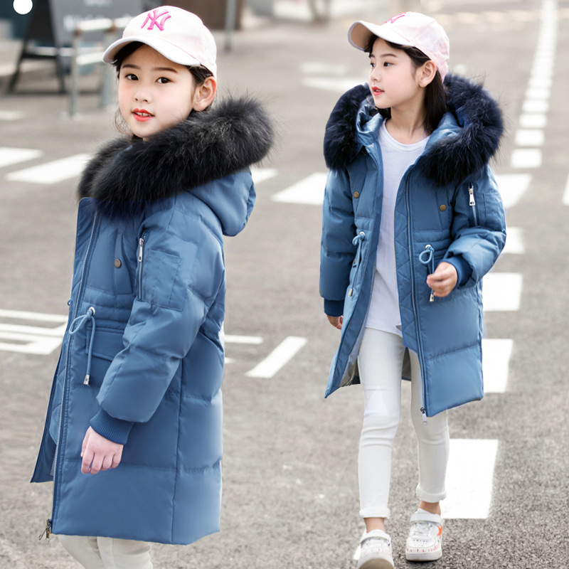 Children Winter Duck Down Girls Thickening Warm Down Jackets Boys long Big Fur Hooded Outerwear Coats Kids 6-14 year Down Jacket
