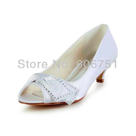 New Satin Tie Low Heel Wedding Bridal Shoes With