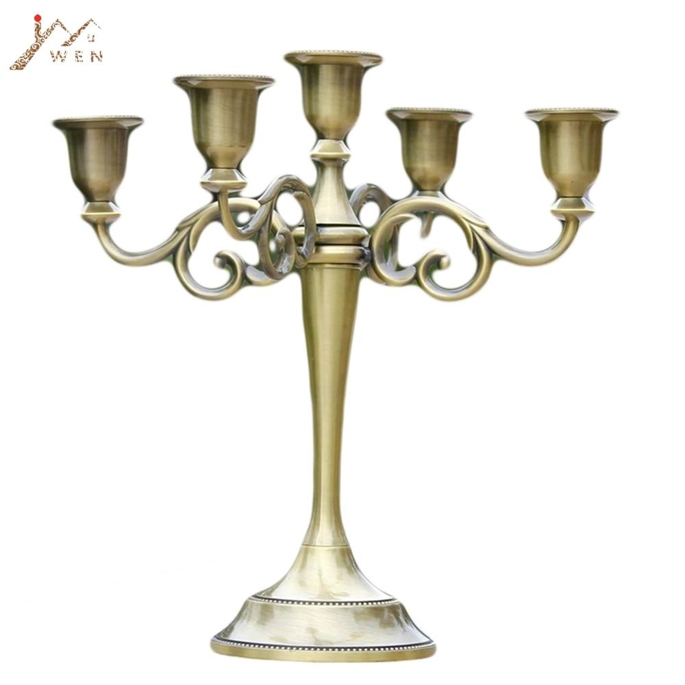 Wispun 3 Arms Candle Holder Metal Pillar Candle Stick Wedding Event Candelabra Silver