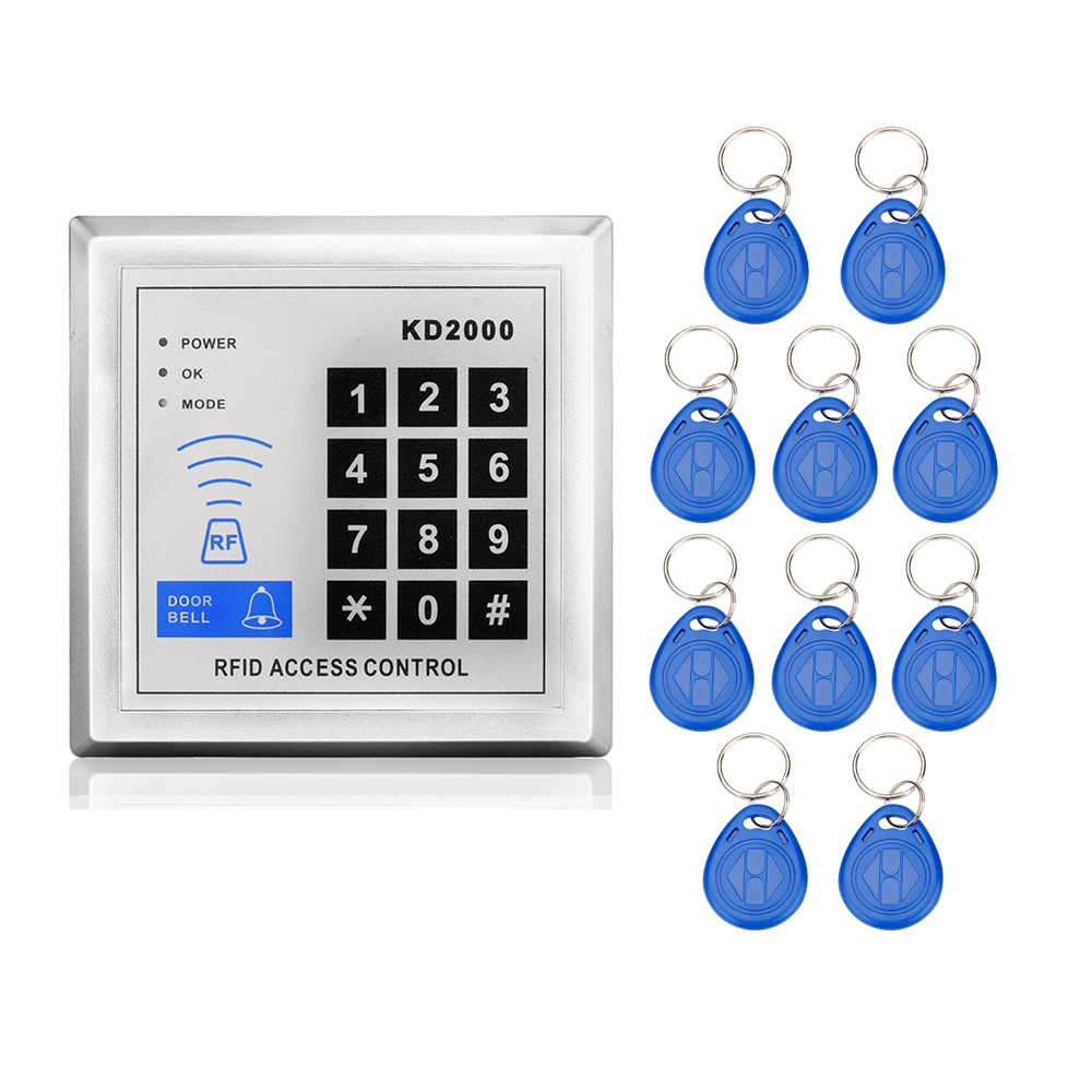 RFID Door Access Control Proximity 125KHz 3000 Users Keypad with 10 Key Fobs+management cards code lock for Door security System diysecur 50pcs lot 125khz rfid card key fobs door key for access control system rfid reader use red